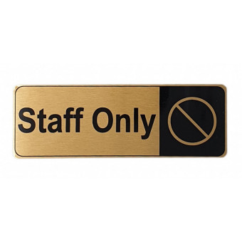 170x60mm Staff Only Gold Sign
