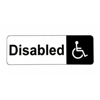 170x60mm Disabled White Sign