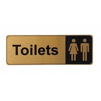 170x60mm Toilets Gold Sign