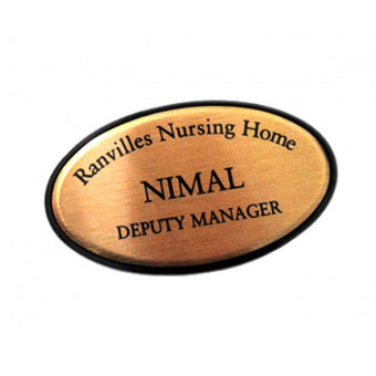 Oval Gold Metal Badge 64x34mm