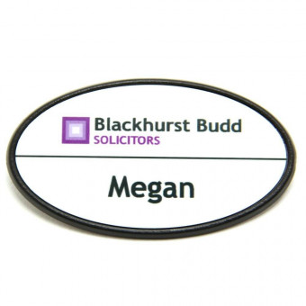 Oval White Metal Badge 64x34mm