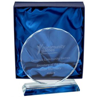 Round Clear Glass Award 17cm