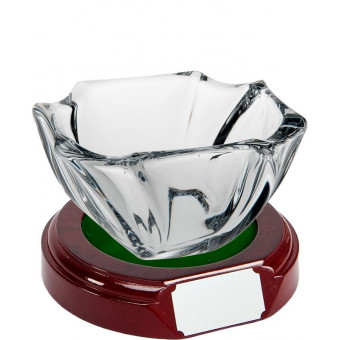 Oval Crystal Bowl and Base 9cm